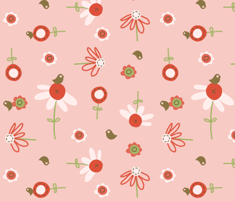 fabric_pink_garden3 fabric by emilyb123 on Spoonflower - custom fabric