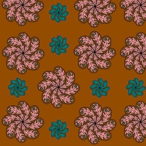 chocolate turquoise and pink paisley flowers