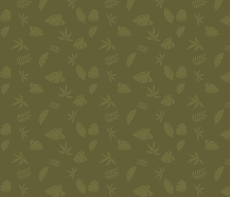 jungle_leaves_dark_background_8 fabric by vo_aka_virginiao on Spoonflower - custom fabric