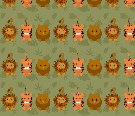 lions_and_tigers_and_bears_border_8 fabric by vo_aka_virginiao on Spoonflower - custom fabric