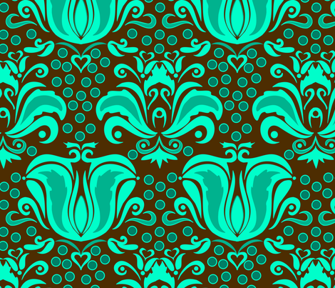 Damask_Turquoise_World fabric by renule on Spoonflower - custom fabric