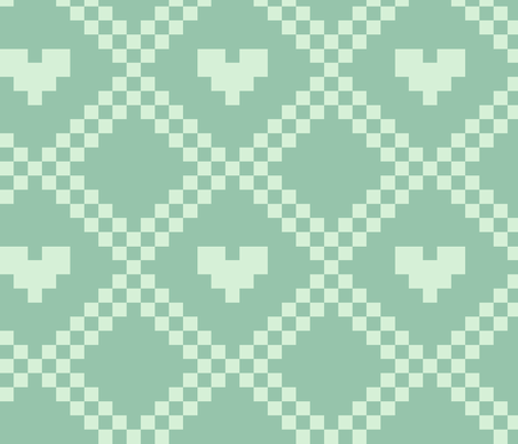 pixel hearts - aqua fabric by iamnotadoll on Spoonflower - custom fabric