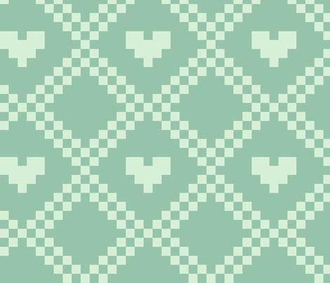pixel hearts - aqua fabric by iamnotadoll on Spoonflower - custom fabric