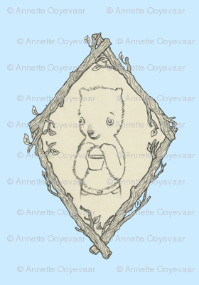 Little Hungry Bear Toile - Pale Blue