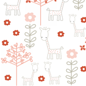 giraffes and flowers