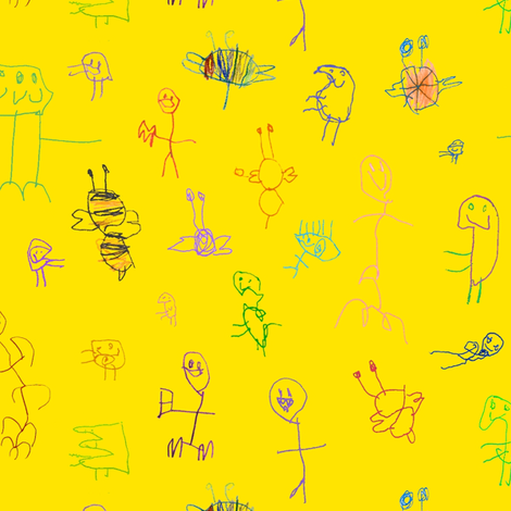 Mac's Guys on yellow fabric by weavingmajor on Spoonflower - custom fabric