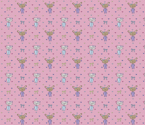 Kitties & Bunnies fabric by emilywhittaker on Spoonflower - custom fabric
