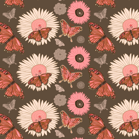 Pink and Brown Butterflies fabric by twobloom on Spoonflower - custom fabric