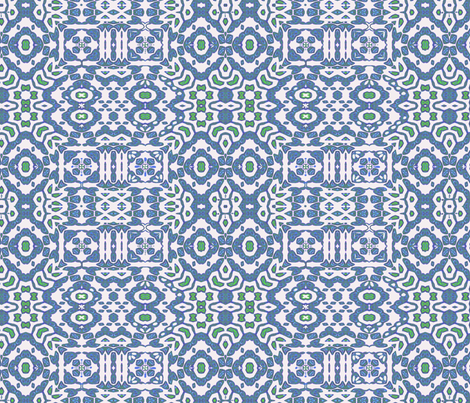 Blue white country kitchen tile fabric by wren_leyland on Spoonflower - custom fabric