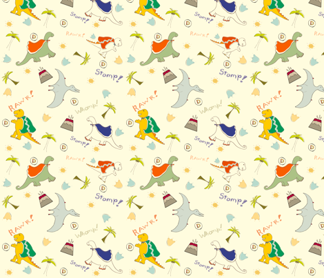 Super Dinos Go fabric by happy_stephanie_girl on Spoonflower - custom fabric