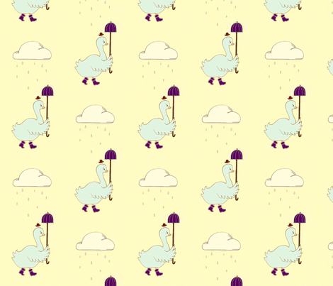 Papa Goose Out for a Stroll fabric by waxypin on Spoonflower - custom fabric