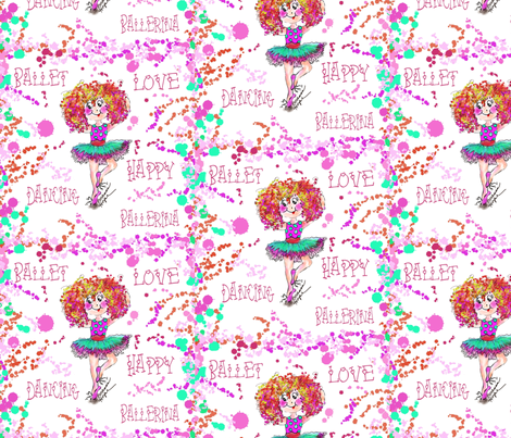 Happy Dancing Sophiais a Ballerina  by Rosanna Hope fabric by rosannahope on Spoonflower - custom fabric