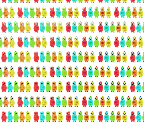 Owl Lined Up fabric by funkynature on Spoonflower - custom fabric