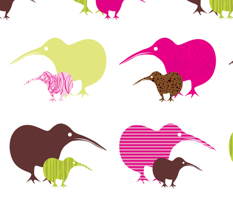 Kiwi mama and baby fabric by malien00 on Spoonflower - custom fabric