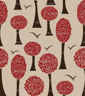 Polka Trees - Burgundy