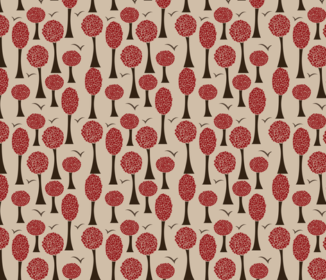 Polka Trees - Burgundy fabric by natalie on Spoonflower - custom fabric