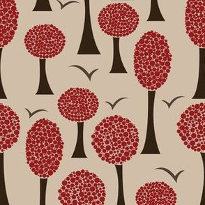 Polka Trees - Burgundy