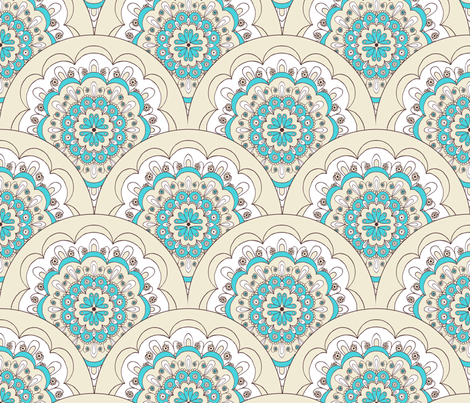 Sun Soaking, Doily, Blue fabric by natalie on Spoonflower - custom fabric