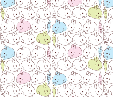 bunny garden fabric by malien00 on Spoonflower - custom fabric