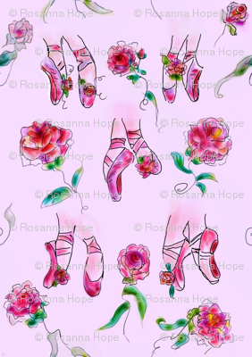 "Roses and Ballerina Slippers  ""Classic Pink"" by Rosanna Hope"
