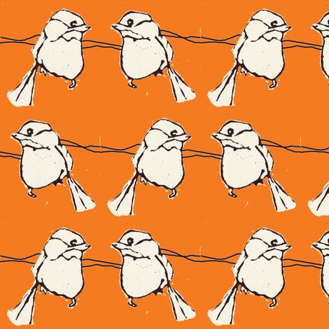 birdfight orange fabric by sparegus on Spoonflower - custom fabric