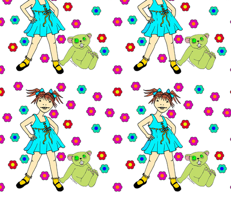 Scary Girl and her Scary Bear fabric by vickijenkinsart on Spoonflower - custom fabric