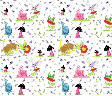 In_The_Garden_8x8_vickijenkinsart-January_2010 fabric by vickijenkinsart on Spoonflower - custom fabric