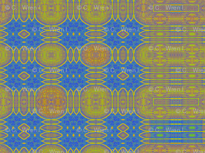 Medallion Plaid in Blue & Gold