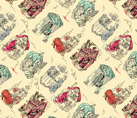 Fairy tale toile fabric by hannafate on Spoonflower - custom fabric