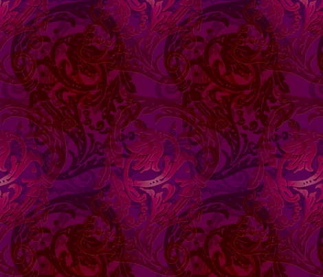 Baroque Curlicue in Merlot and Aubergine fabric by jenithea on Spoonflower - custom fabric