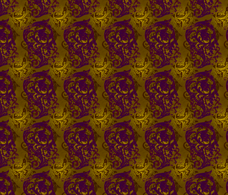 Baroque Curlicue in Gold and Purple 2 fabric by jenithea on Spoonflower - custom fabric