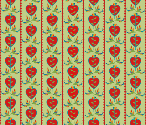 Tulips Hearts and Hummingbirds fabric by royalforest on Spoonflower - custom fabric