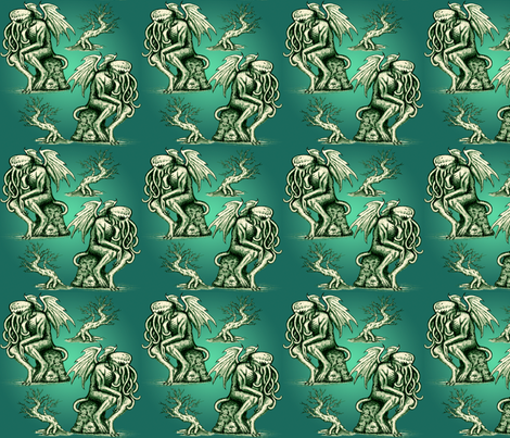 Cthulhu the Cthinker in Creepy Teal fabric by jenithea on Spoonflower - custom fabric