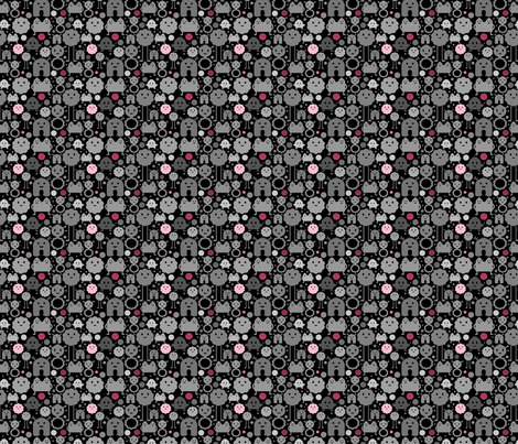Monsters On the Loose - Black and Pinks - teeny fabric by jesseesuem on Spoonflower - custom fabric