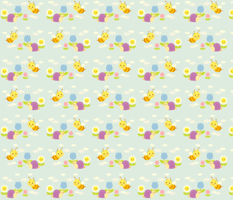 Snail & Bee fabric by smilerecipe on Spoonflower - custom fabric