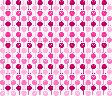 Tall Monsters Blooming - Bright Pink fabric by jesseesuem on Spoonflower - custom fabric
