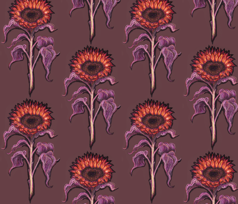 Dark Sunflower fabric by jenithea on Spoonflower - custom fabric