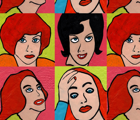 Retro Girlies fabric by discodog01 on Spoonflower - custom fabric
