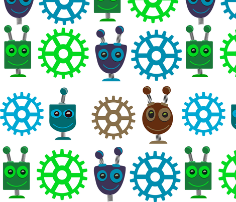 Colorful Robot Heads & Gears fabric by herartsheloves on Spoonflower - custom fabric