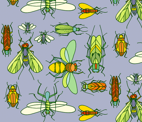 BUGS_on_blue fabric by jone on Spoonflower - custom fabric