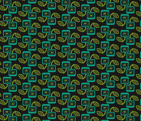 squares_green_blk fabric by thirdhalfstudios on Spoonflower - custom fabric