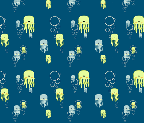 Jellyfish & Bubbles fabric by plushplay on Spoonflower - custom fabric