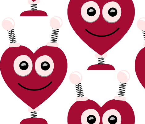 Robot Heart Shaped Head fabric by herartsheloves on Spoonflower - custom fabric