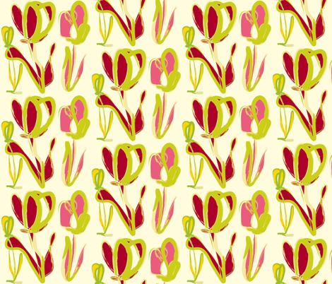 Red & Pink Tulips fabric by backyarddesigns on Spoonflower - custom fabric