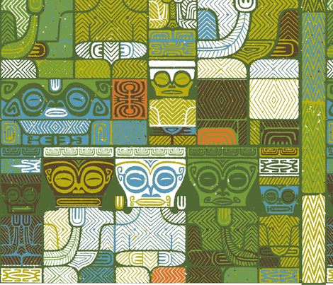Tikis 1h fabric by muhlenkott on Spoonflower - custom fabric