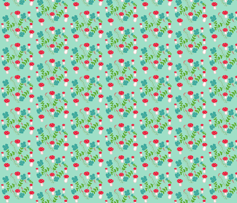 Teal Mushrooms fabric by disgusted_cats on Spoonflower - custom fabric