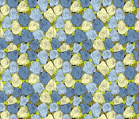 Denim Roses fabric by carrielouise on Spoonflower - custom fabric