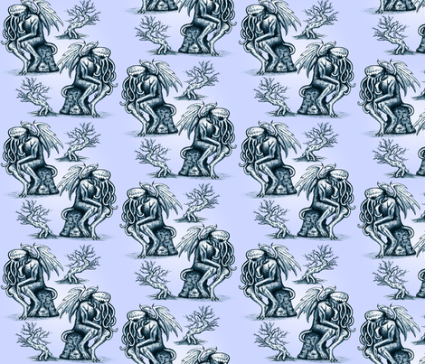Cthulhu in Pale Lavender-Blue fabric by jenithea on Spoonflower - custom fabric