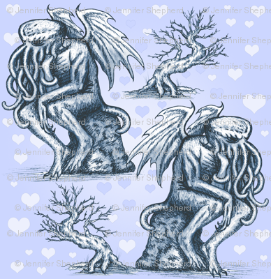 Cthulhu in Love (Blue)