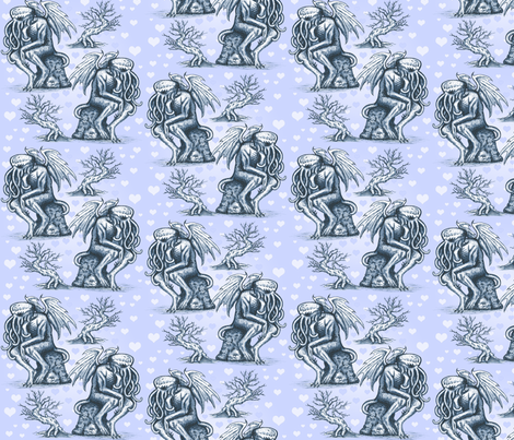 Cthulhu in Love (Blue) fabric by jenithea on Spoonflower - custom fabric
